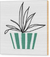 Succulent In Green Pot 3- Art By Linda Woods Wood Print
