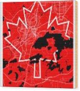Sudbury Street Map - Sudbury Canada Road Map Art On Canada Flag Symbols Wood Print