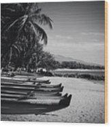 Sugar Beach Hawaiian Outrigger Canoes Kihei Maui Hawaii  Wood Print