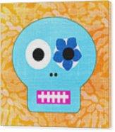 Sugar Skull Blue And Orange Wood Print