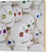 Sugar Skulls For Sale At The Day Wood Print by Krista Rossow