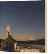 Sugaring View With Stars Wood Print