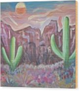 Suggestive Desert Lands Wood Print