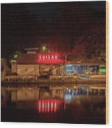 Suisan Fish Market At Night Wood Print