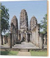 Sukhothai Khmer Sanctuary Wood Print