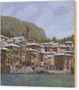 Sul Lago Di Como Wood Print by Guido Borelli