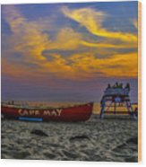 Summer Sunset In Cape May Nj Wood Print