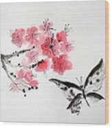 Sumi -e Butterfly Wood Print