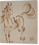 Sumi Horse Wood Print by Lyn Vic