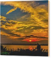 Summer Sunset Over The Delaware River Wood Print