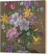 Summer Arrangement In A Glass Vase Wood Print