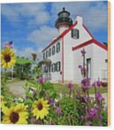 Summer At East Point Light Wood Print