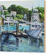 Summer At The Madfish Wharf Wood Print