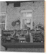 Summer Balcony In B W Wood Print