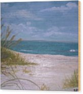 Summer Beach And Sea Grasses Wood Print