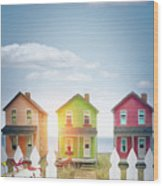 Summer Beach Huts By The Seashore Wood Print