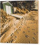 Summer Beach Shacks Wood Print
