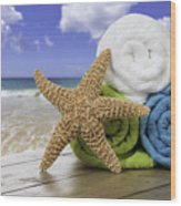 Summer Beach Towels Wood Print by Amanda Elwell