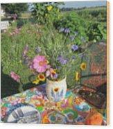 Summer Breakfast In The Garden Wood Print