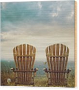 Summer Chairs Sand Dunes And Ocean In Background Wood Print