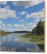 Summer Cloud Reflections On Little Indian Pond In Saint Albans Maine Wood Print