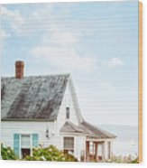 Summer Cottage And Flowers By The Ocean Wood Print
