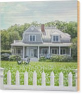 Summer Cottage And White Picket Fence With Flowers Wood Print