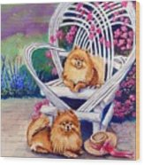 Summer Day - Pomeranian Wood Print by Lyn Cook