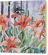 My Summer Day Liliies Wood Print