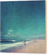 Summer Days - Abstract Seascape With Surfer Wood Print
