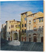 Summer Evening In San Gimignano Wood Print