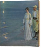 Summer Evening On The Beach At Skagen The Artist And His Wife Wood Print