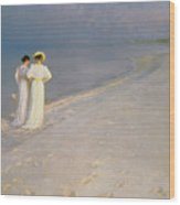 Summer Evening On The Skagen Southern Beach With Anna Ancher And Marie Kroyer Wood Print