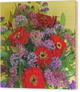 Summer Flower Bouquet Wood Print