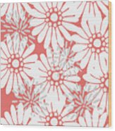Summer Flowers Red Wood Print