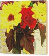 Summer Flowers Yellow Daisies Wood Print