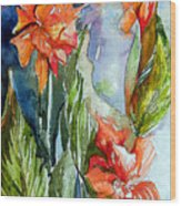 Summer Glads Wood Print by Mindy Newman