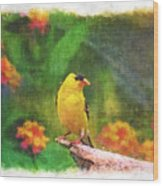 Summer Goldfinch - Digital Paint 4 Wood Print