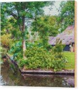 summer in old dutch village, Giethoorn Wood Print