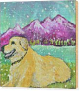 Summer In The Mountains With Summer Snow Wood Print