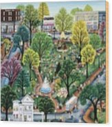 Summer In The Park Wood Print