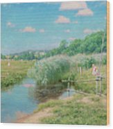 Summer Landscape With Children Wood Print