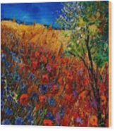 Summer Landscape With Poppies  Wood Print