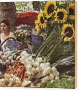 Summer Market In Provence Wood Print