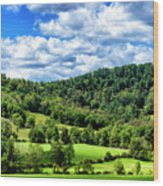Summer Morning Meadow And Ridge Wood Print