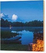Summer Nights On The Pond Wood Print