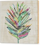 Summer Palm Leaf- Art By Linda Woods Wood Print
