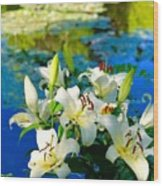 Summer Pond French Lilies Wood Print