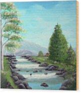 Summer Raging Waters Wood Print
