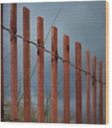 Summer Storm Beach Fence Wood Print